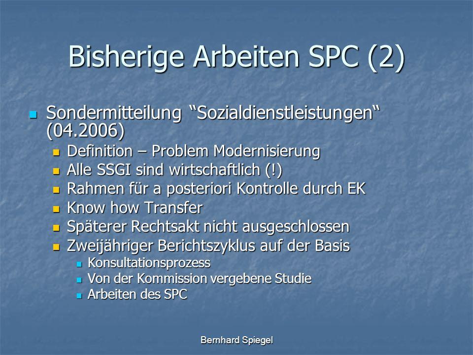 Bernhard Spiegel Bisherige Arbeiten SPC (2) Sondermitteilung Sozialdienstleistungen (04.2006) Sondermitteilung Sozialdienstleistungen (04.2006) Defini