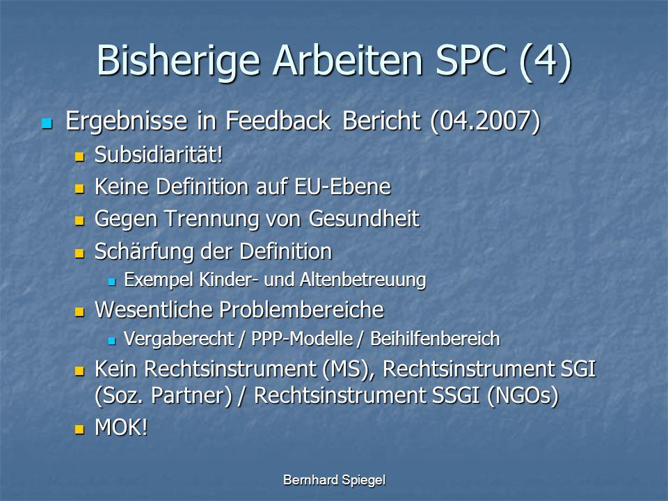 Bernhard Spiegel Bisherige Arbeiten SPC (4) Ergebnisse in Feedback Bericht (04.2007) Ergebnisse in Feedback Bericht (04.2007) Subsidiarität! Subsidiar
