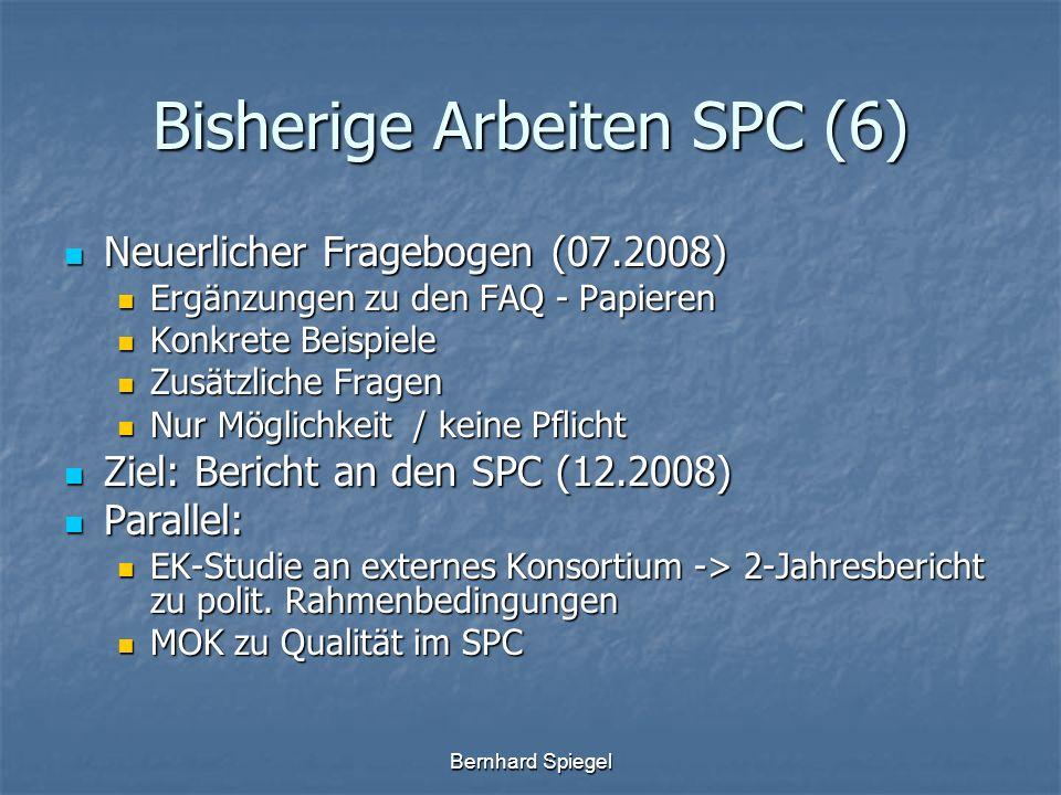 Bernhard Spiegel Bisherige Arbeiten SPC (6) Neuerlicher Fragebogen (07.2008) Neuerlicher Fragebogen (07.2008) Ergänzungen zu den FAQ - Papieren Ergänz