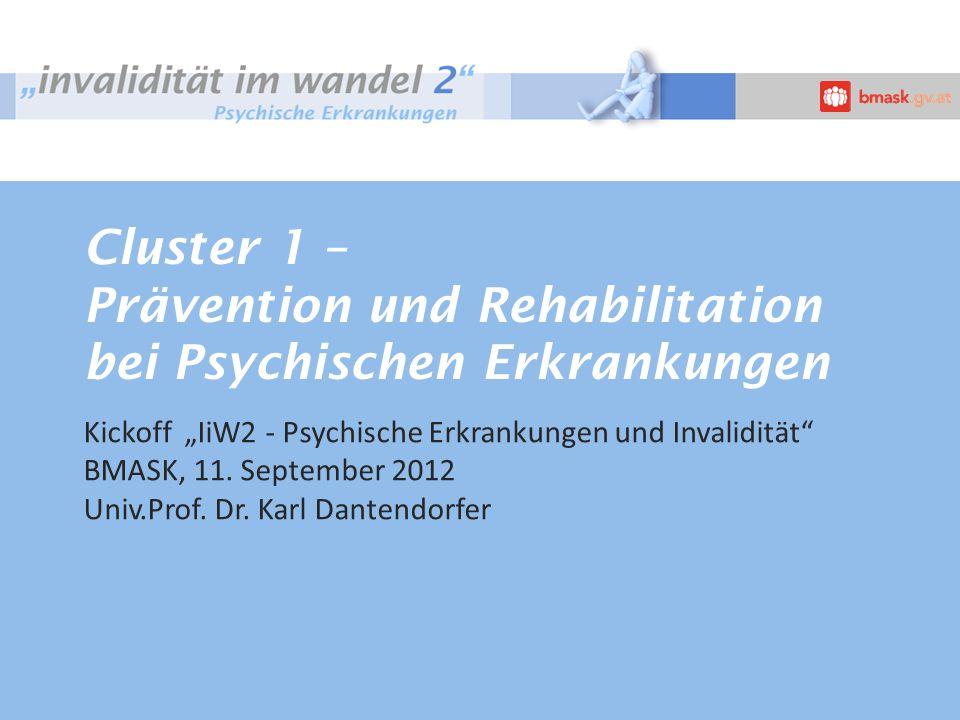 Cluster 1 – Prävention und Rehabilitation bei Psychischen Erkrankungen Kickoff IiW2 - Psychische Erkrankungen und Invalidität BMASK, 11.