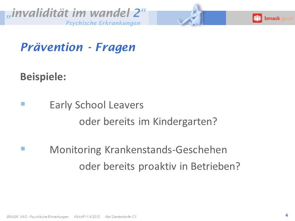 4 Prävention - Fragen Beispiele: Early School Leavers oder bereits im Kindergarten.