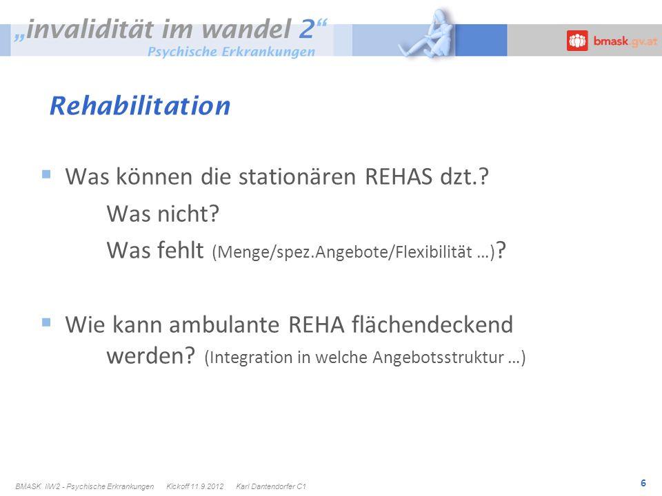 6 Rehabilitation Was können die stationären REHAS dzt..