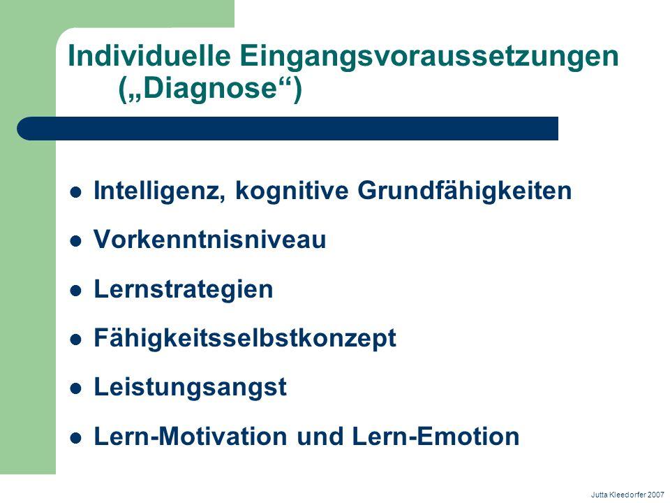 Individuelle Eingangsvoraussetzungen (Diagnose) Intelligenz, kognitive Grundfähigkeiten Vorkenntnisniveau Lernstrategien Fähigkeitsselbstkonzept Leist
