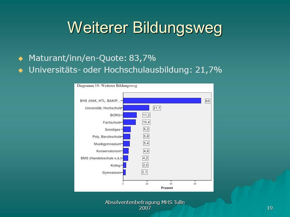 Absolventenbefragung MHS Tulln 2007 19 Weiterer Bildungsweg Maturant/inn/en-Quote: 83,7% Universitäts- oder Hochschulausbildung: 21,7%