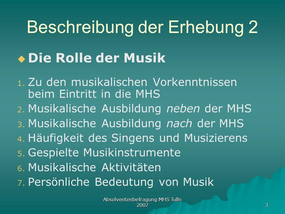 Absolventenbefragung MHS Tulln 2007 3 Beschreibung der Erhebung 2 Die Rolle der Musik 1. 1. Zu den musikalischen Vorkenntnissen beim Eintritt in die M