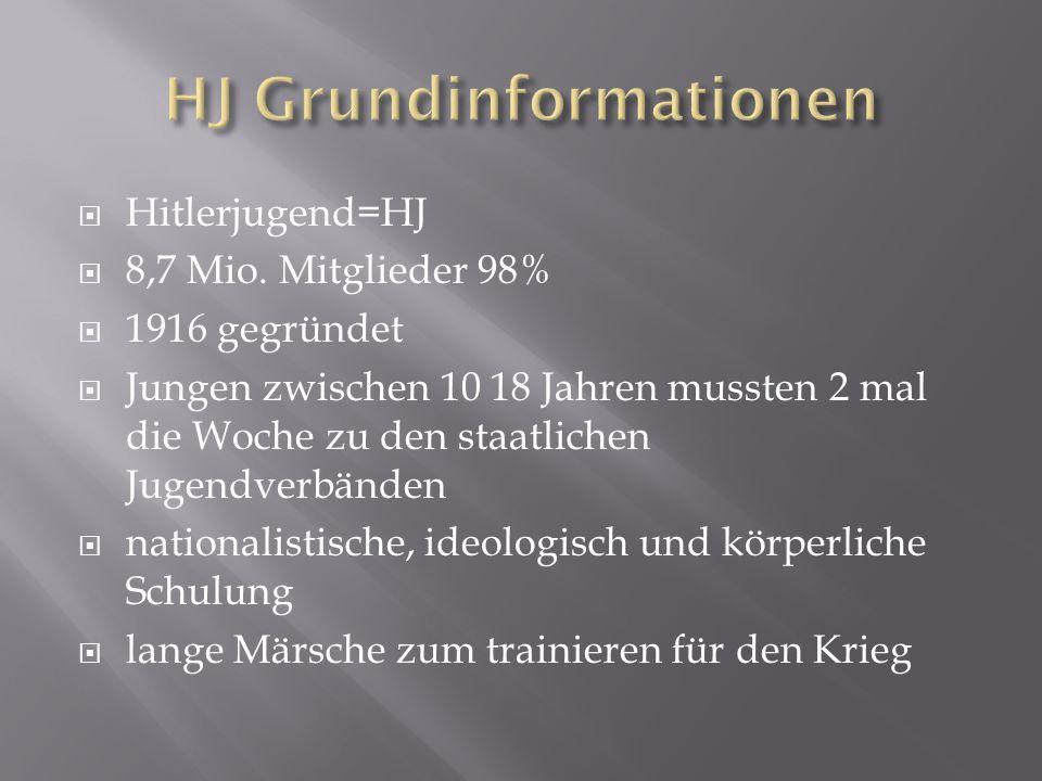 Hitlerjugend=HJ 8,7 Mio. Mitglieder 98% 1916 gegründet Jungen zwischen 10 18 Jahren mussten 2 mal die Woche zu den staatlichen Jugendverbänden nationa