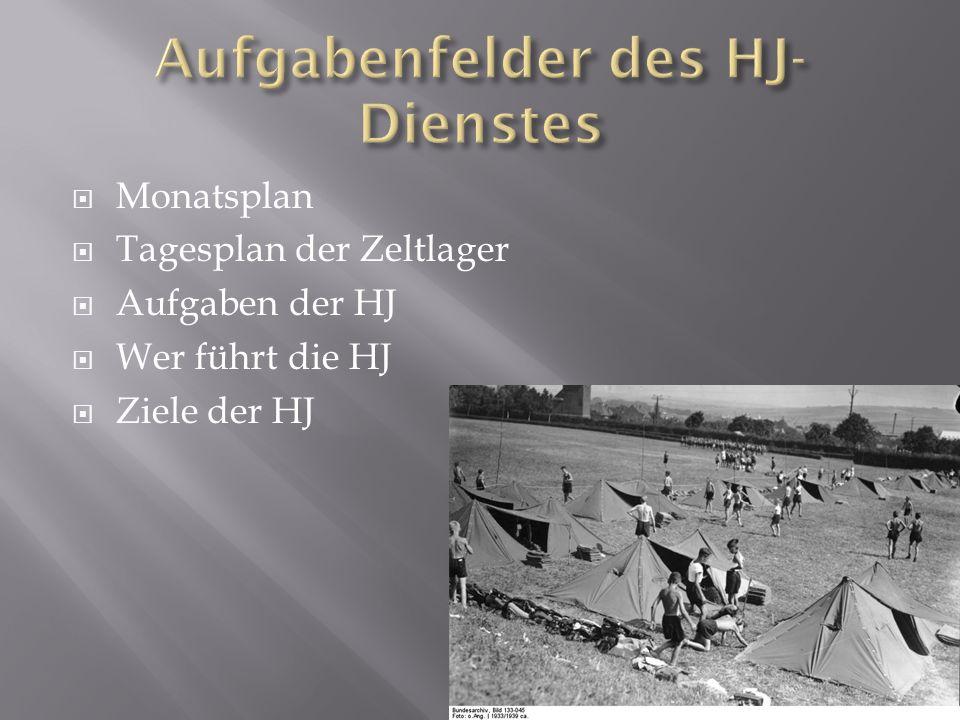 Monatsplan Tagesplan der Zeltlager Aufgaben der HJ Wer führt die HJ Ziele der HJ