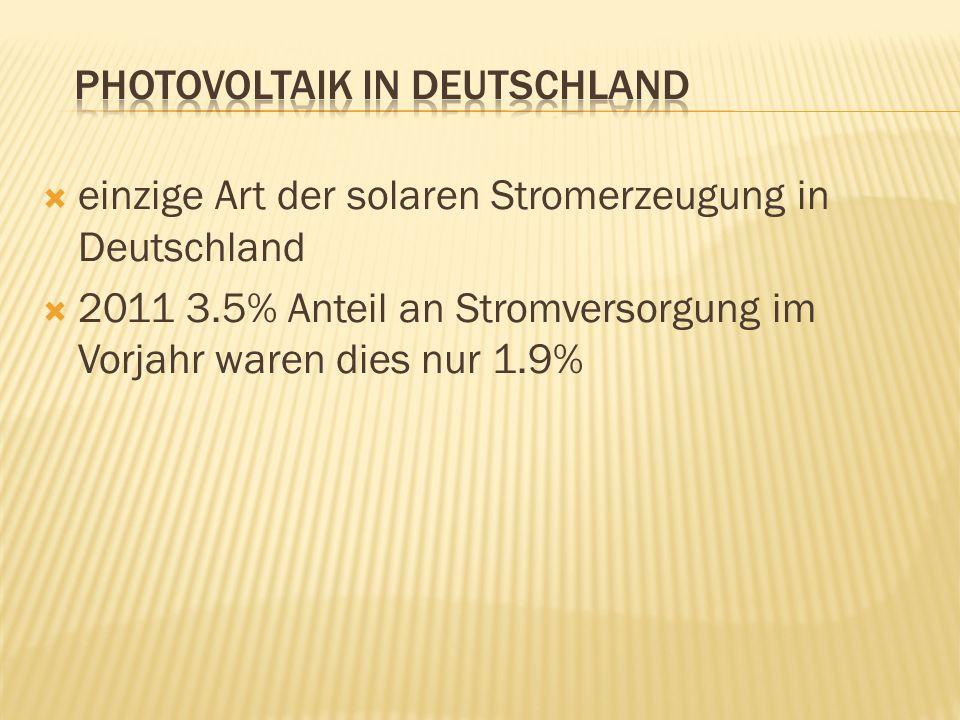 einzige Art der solaren Stromerzeugung in Deutschland 2011 3.5% Anteil an Stromversorgung im Vorjahr waren dies nur 1.9%