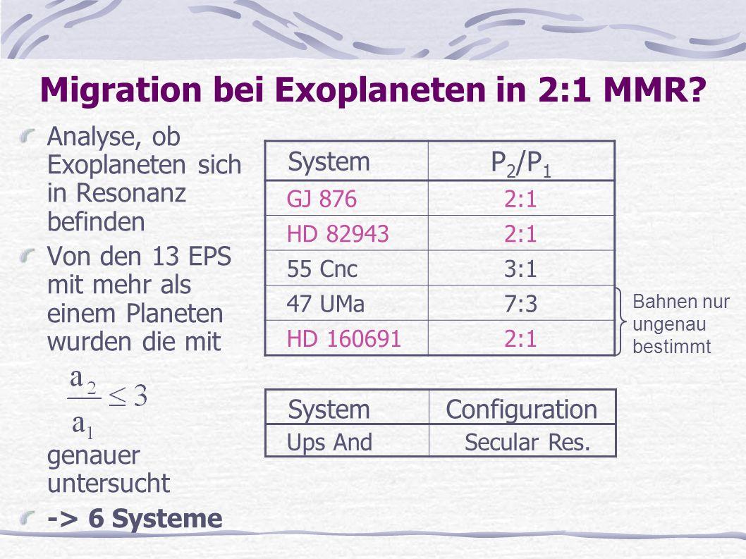 Migration bei Exoplaneten in 2:1 MMR? Analyse, ob Exoplaneten sich in Resonanz befinden Von den 13 EPS mit mehr als einem Planeten wurden die mit gena