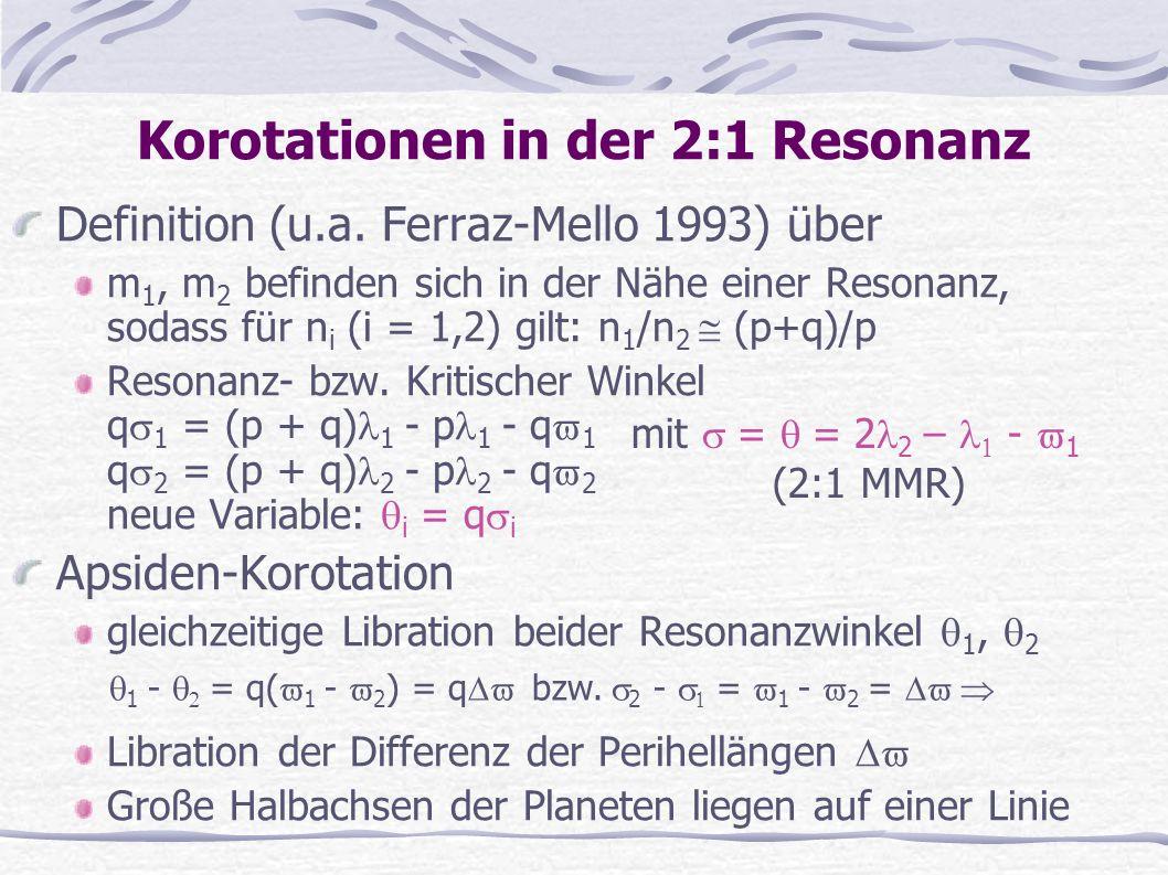 Korotationen in der 2:1 Resonanz Definition (u.a. Ferraz-Mello 1993) über m 1, m 2 befinden sich in der Nähe einer Resonanz, sodass für n i (i = 1,2)