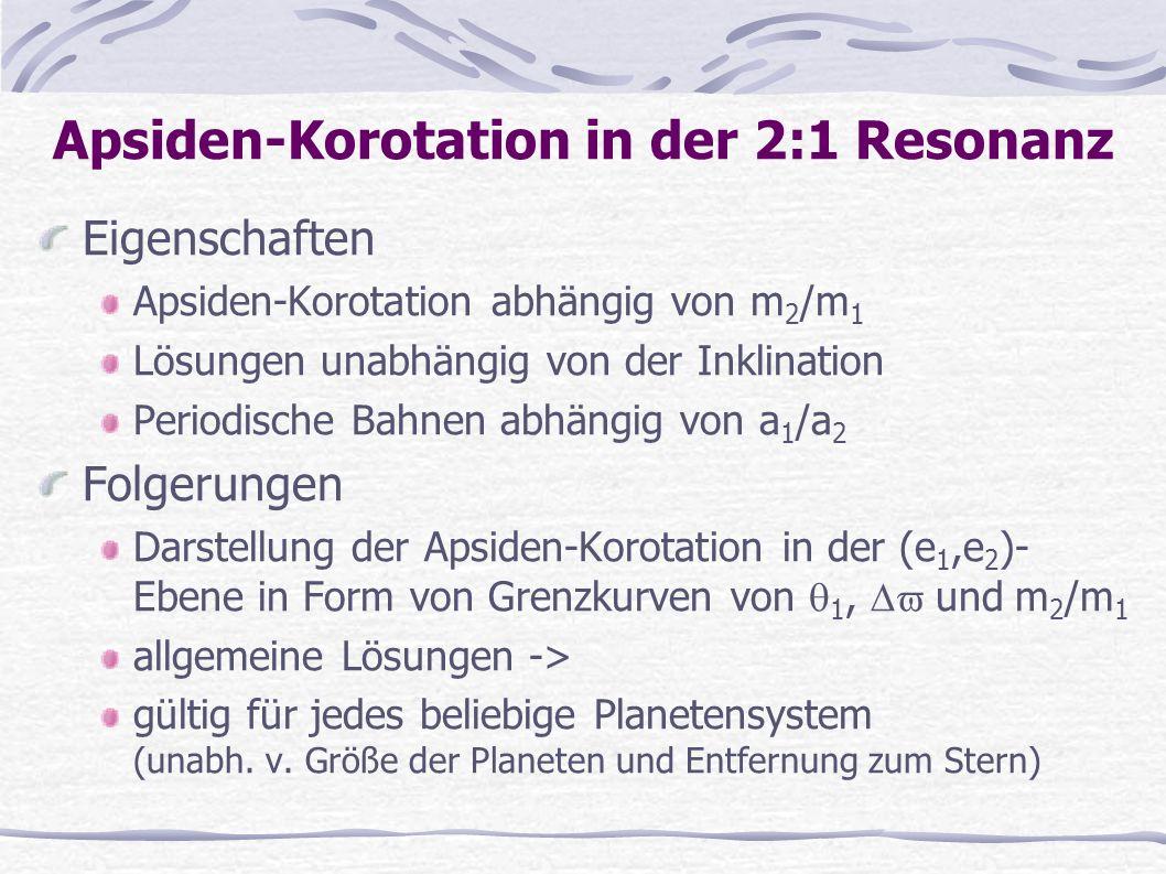 Eigenschaften Apsiden-Korotation abhängig von m 2 /m 1 Lösungen unabhängig von der Inklination Periodische Bahnen abhängig von a 1 /a 2 Folgerungen Da