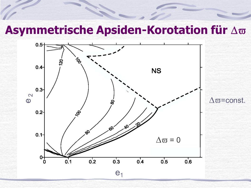 Asymmetrische Apsiden-Korotation für e 1 e 2 =const. = 0