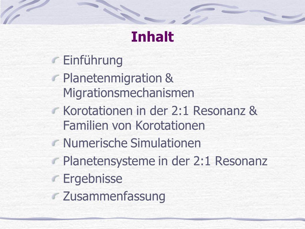 Inhalt Einführung Planetenmigration & Migrationsmechanismen Korotationen in der 2:1 Resonanz & Familien von Korotationen Numerische Simulationen Plane