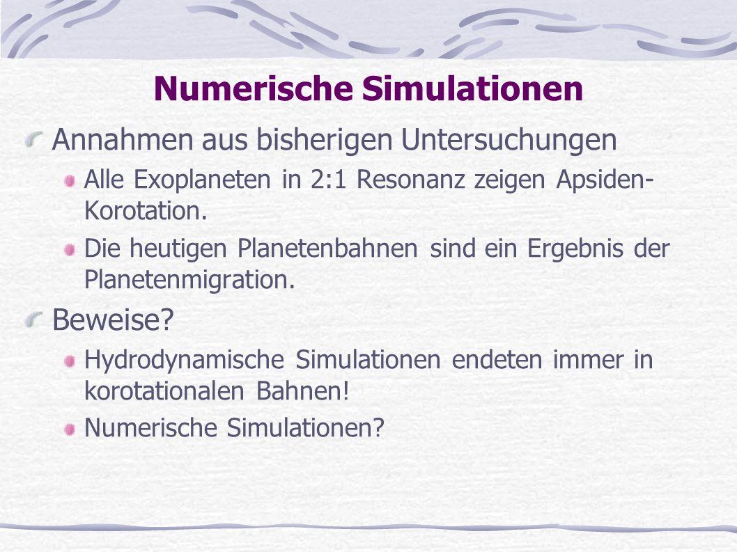 Numerische Simulationen Annahmen aus bisherigen Untersuchungen Alle Exoplaneten in 2:1 Resonanz zeigen Apsiden- Korotation. Die heutigen Planetenbahne