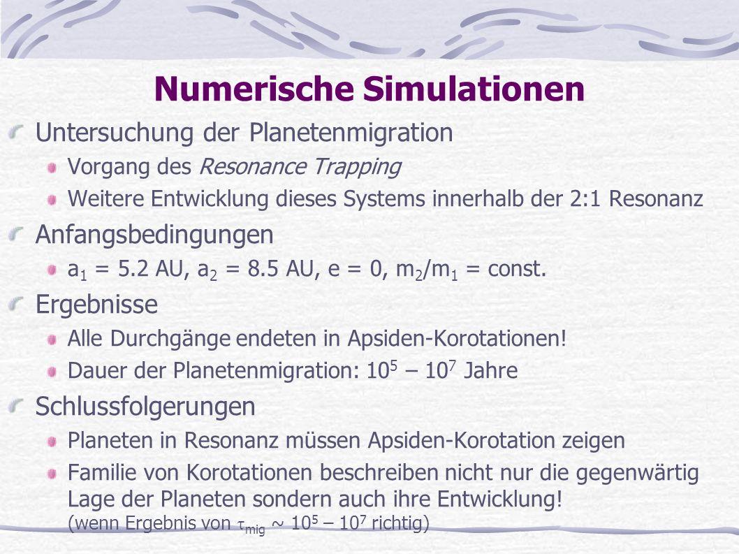 Numerische Simulationen Untersuchung der Planetenmigration Vorgang des Resonance Trapping Weitere Entwicklung dieses Systems innerhalb der 2:1 Resonan