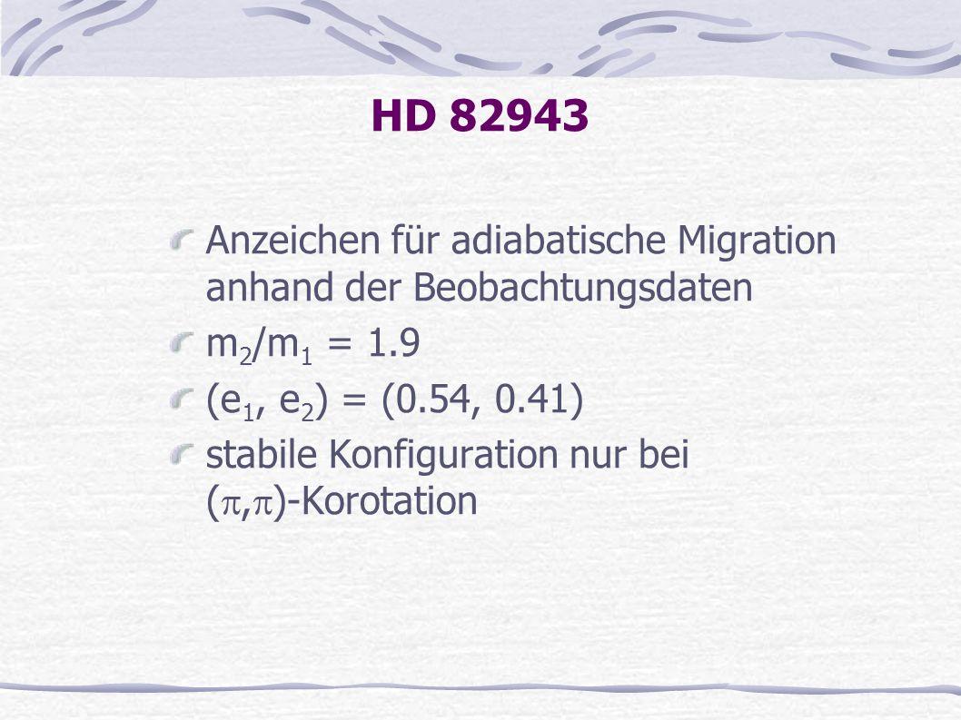 HD 82943 Anzeichen für adiabatische Migration anhand der Beobachtungsdaten m 2 /m 1 = 1.9 (e 1, e 2 ) = (0.54, 0.41) stabile Konfiguration nur bei (,
