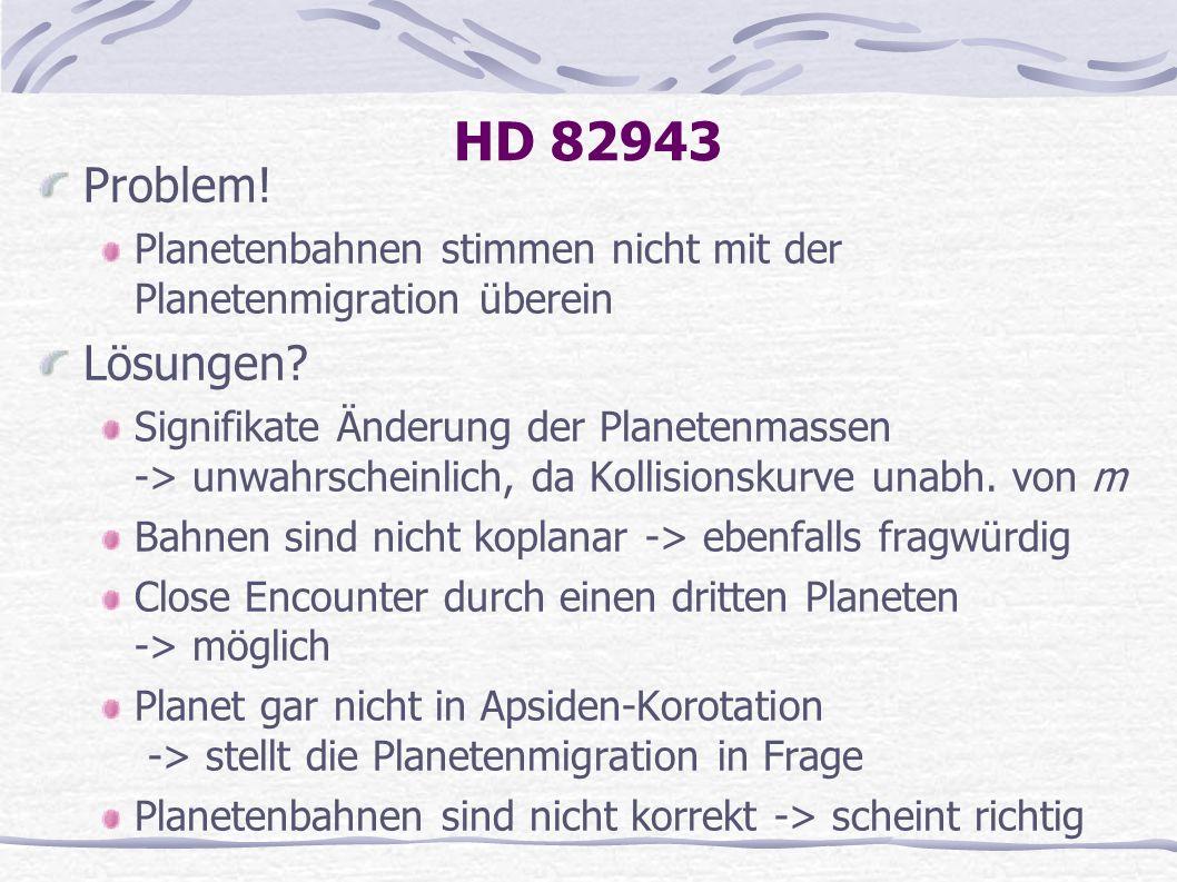 HD 82943 Problem! Planetenbahnen stimmen nicht mit der Planetenmigration überein Lösungen? Signifikate Änderung der Planetenmassen -> unwahrscheinlich