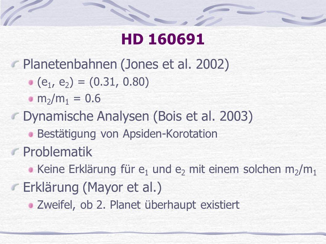 HD 160691 Planetenbahnen (Jones et al. 2002) (e 1, e 2 ) = (0.31, 0.80) m 2 /m 1 = 0.6 Dynamische Analysen (Bois et al. 2003) Bestätigung von Apsiden-