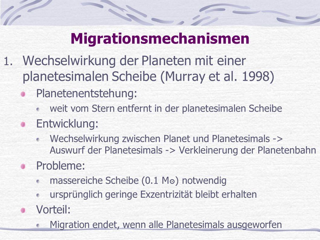 Migrationsmechanismen 1. Wechselwirkung der Planeten mit einer planetesimalen Scheibe (Murray et al. 1998) Planetenentstehung: weit vom Stern entfernt