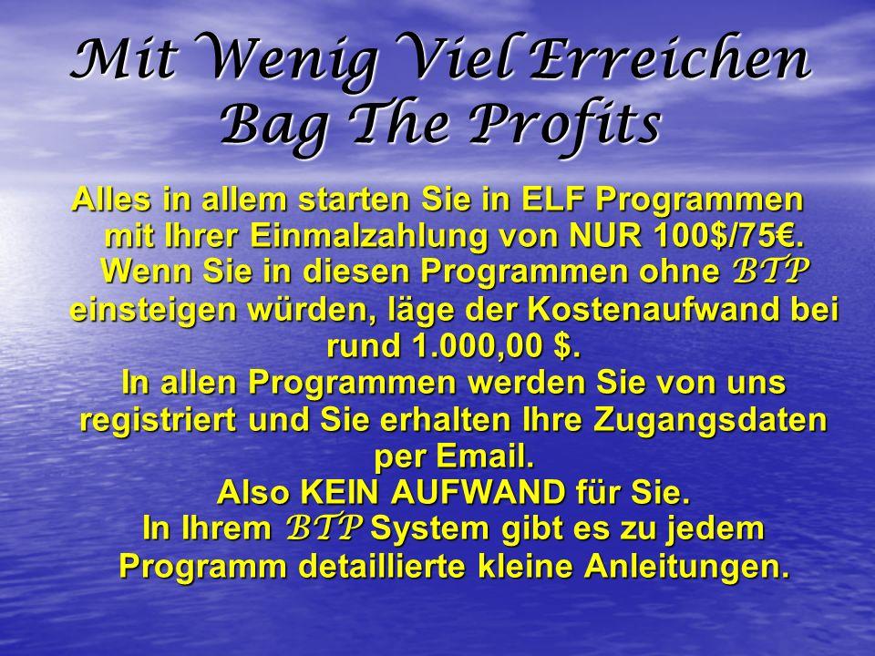Schneller Aufbau mit Bag The Profits Ihr BTP System ist so konzipiert, dass Sie mit nur 2 Partnern bereits in Ihrem ersten Programm bezahlt aktiv sind.