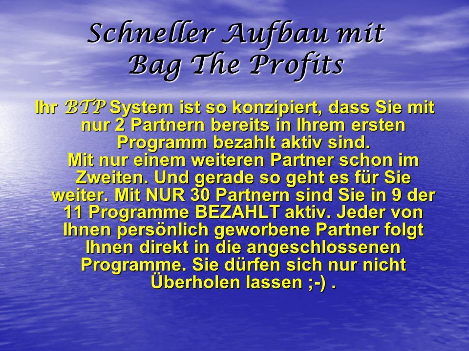Schneller Aufbau mit Bag The Profits Ihr BTP System ist so konzipiert, dass Sie mit nur 2 Partnern bereits in Ihrem ersten Programm bezahlt aktiv sind
