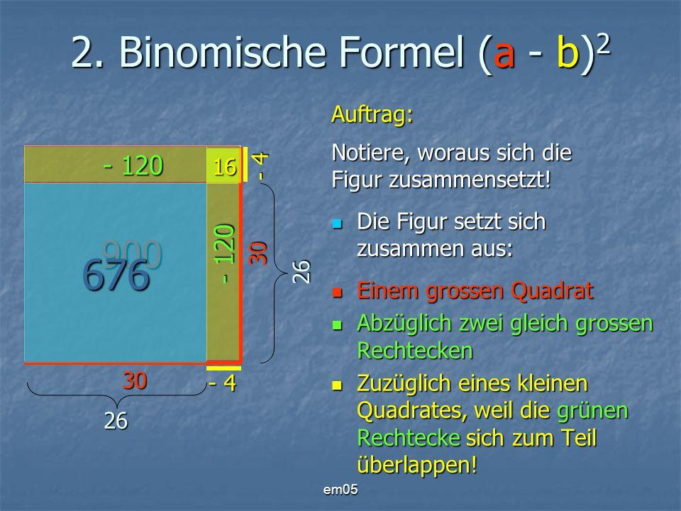 em05 2. Binomische Formel (a - b) 2 Auftrag: Notiere, woraus sich die Figur zusammensetzt! Die Figur setzt sich zusammen aus: Die Figur setzt sich zus