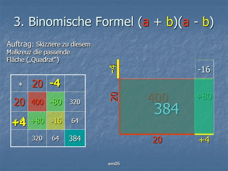 em05 3. Binomische Formel (a + b)(a - b) Auftrag: Skizziere zu diesem Malkreuz die passende Fläche (Quadrat) * 20-4 20400-80320 +4+4+4+4+80 - 16 - 166