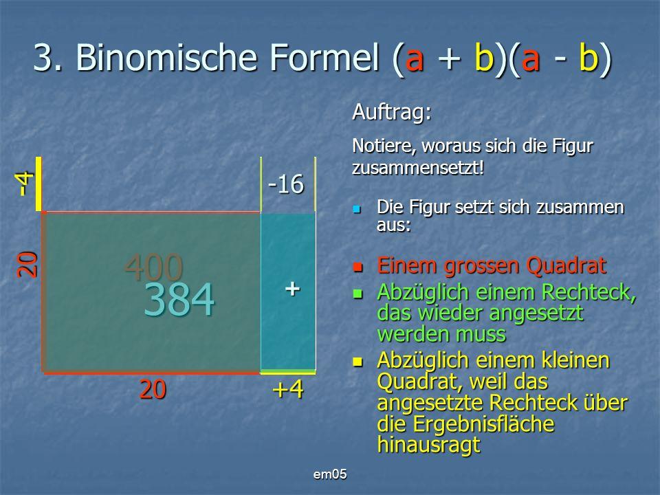 em05 3. Binomische Formel (a + b)(a - b) Auftrag: Notiere, woraus sich die Figur zusammensetzt! Die Figur setzt sich zusammen aus: Die Figur setzt sic