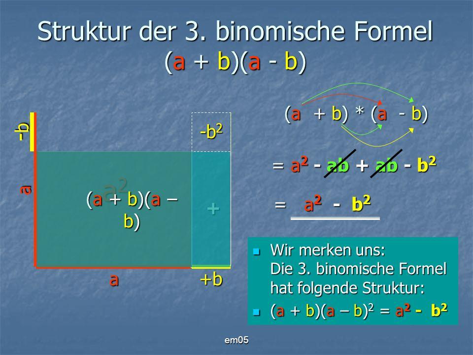 em05 Struktur der 3. binomische Formel (a + b)(a - b) a +b a -b-b-b-b a2a2a2a2 -ab -b 2 + (a + b)(a – b) Wir merken uns: Die 3. binomische Formel hat