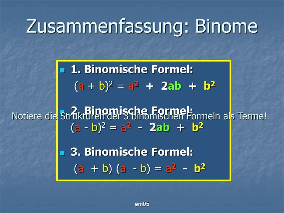 em05 Zusammenfassung: Binome 1. Binomische Formel: (a + b) 2 = a 2 + 2ab + b 2 1. Binomische Formel: (a + b) 2 = a 2 + 2ab + b 2 2. Binomische Formel: