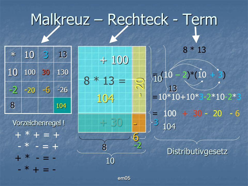 em05 Malkreuz – Rechteck - Term * 103 1010030130 -2 - 20 -6 -6-26 104 8 * 13 104 = (10 – 2)*(10 + 3) =10*10+10*3-2*10-2*3 = 100 + 30 - 20 - 6 104 + *