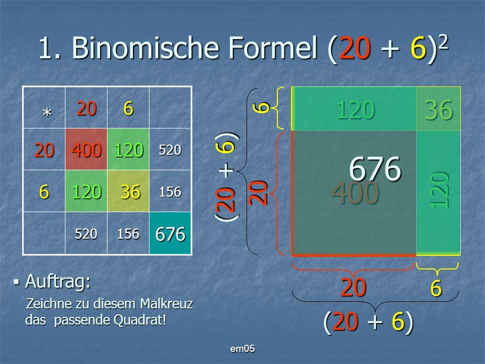 em05 1. Binomische Formel (20 + 6) 2 * 206 20400120520 6120 36 36156 520156676 Auftrag: Zeichne zu diesem Malkreuz das passende Quadrat! Auftrag: Zeic