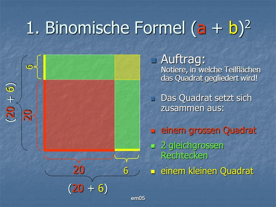 em05 1. Binomische Formel (a + b) 2 Auftrag: Notiere, in welche Teilflächen das Quadrat gegliedert wird! Auftrag: Notiere, in welche Teilflächen das Q
