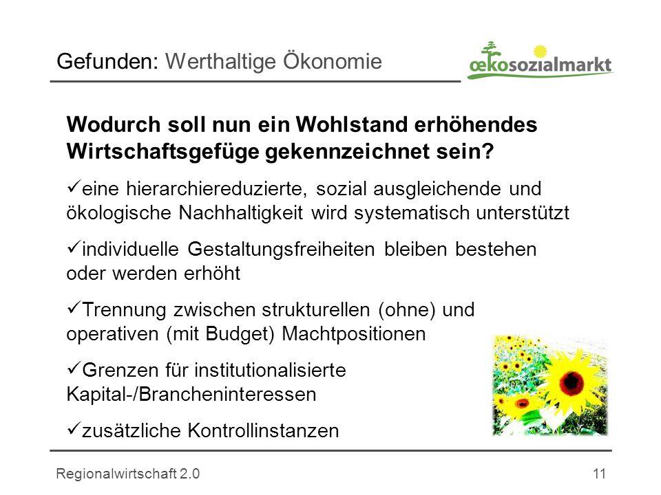 Regionalwirtschaft 2.011 Gefunden: Werthaltige Ökonomie Wodurch soll nun ein Wohlstand erhöhendes Wirtschaftsgefüge gekennzeichnet sein.