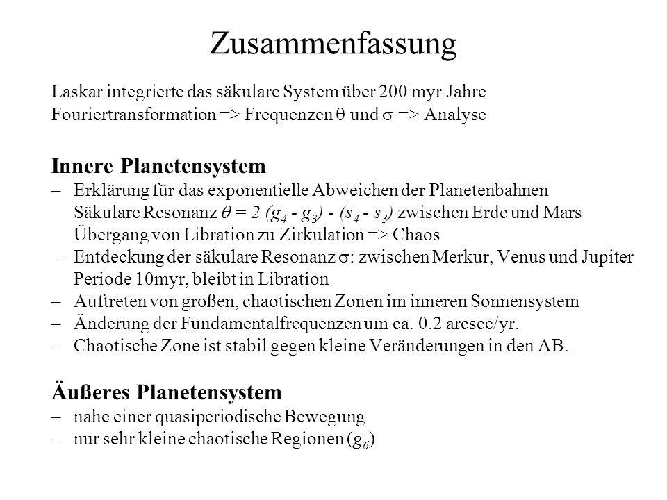 Zusammenfassung Laskar integrierte das säkulare System über 200 myr Jahre Fouriertransformation => Frequenzen und => Analyse Innere Planetensystem –Erklärung für das exponentielle Abweichen der Planetenbahnen Säkulare Resonanz = 2 (g 4 - g 3 ) - (s 4 - s 3 ) zwischen Erde und Mars Übergang von Libration zu Zirkulation => Chaos –Entdeckung der säkulare Resonanz : zwischen Merkur, Venus und Jupiter Periode 10myr, bleibt in Libration –Auftreten von großen, chaotischen Zonen im inneren Sonnensystem –Änderung der Fundamentalfrequenzen um ca.