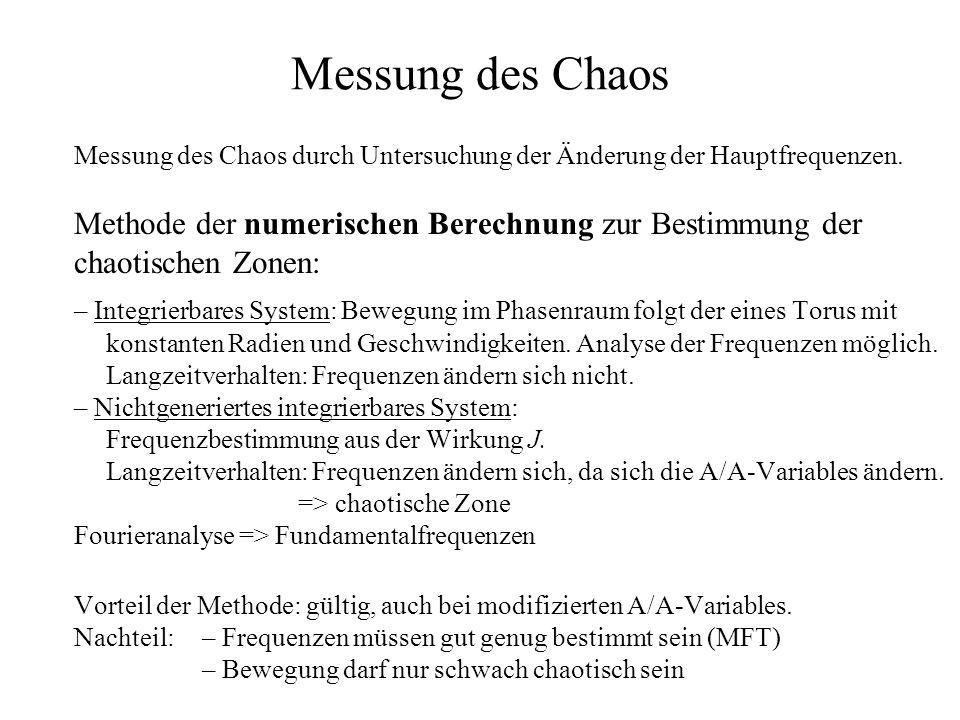 Messung des Chaos Messung des Chaos durch Untersuchung der Änderung der Hauptfrequenzen.
