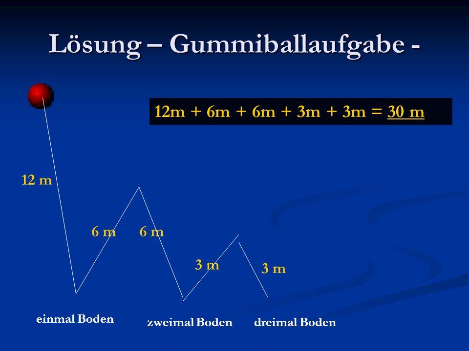 Lösung – Gummiballaufgabe - 12 m 6 m 3 m einmal Boden zweimal Bodendreimal Boden 12m + 6m + 6m + 3m + 3m = 30 m