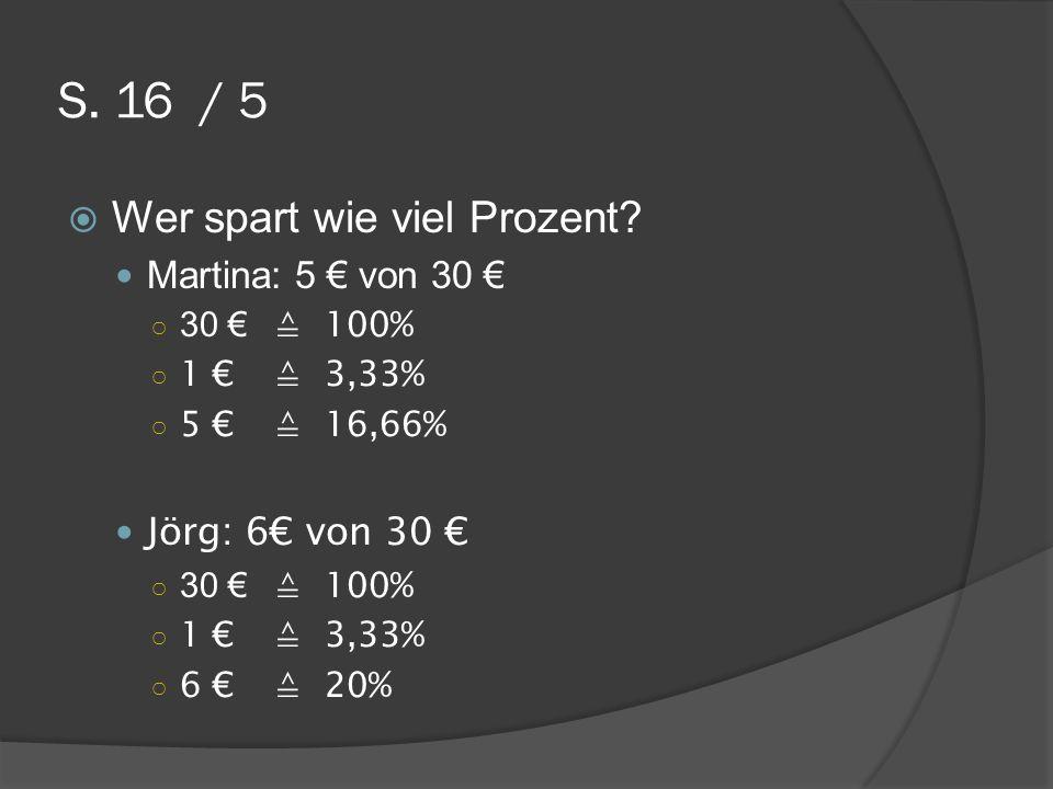 S. 16 / 5 Wer spart wie viel Prozent? Martina: 5 von 30 30 100% 1 3,33% 5 16,66% Jörg: 6 von 30 30 100% 1 3,33% 6 20%