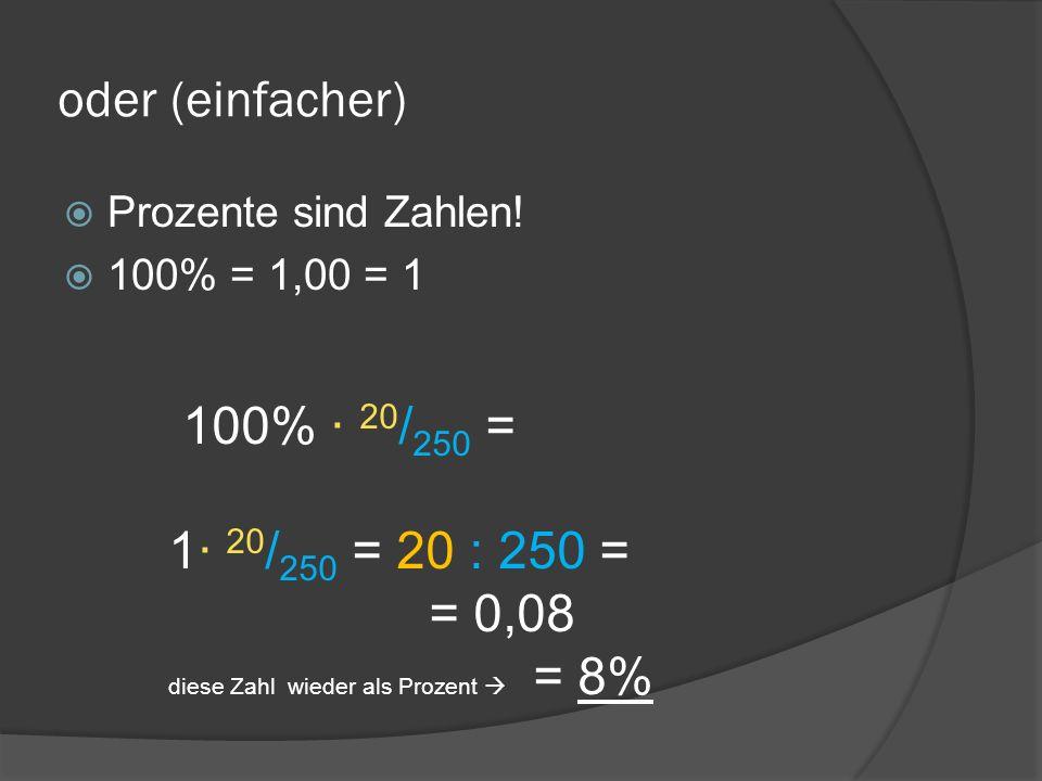 oder (einfacher) Prozente sind Zahlen! 100% = 1,00 = 1 100% · 20 / 250 = 1· 20 / 250 = 20 : 250 = = 0,08 diese Zahl wieder als Prozent = 8%
