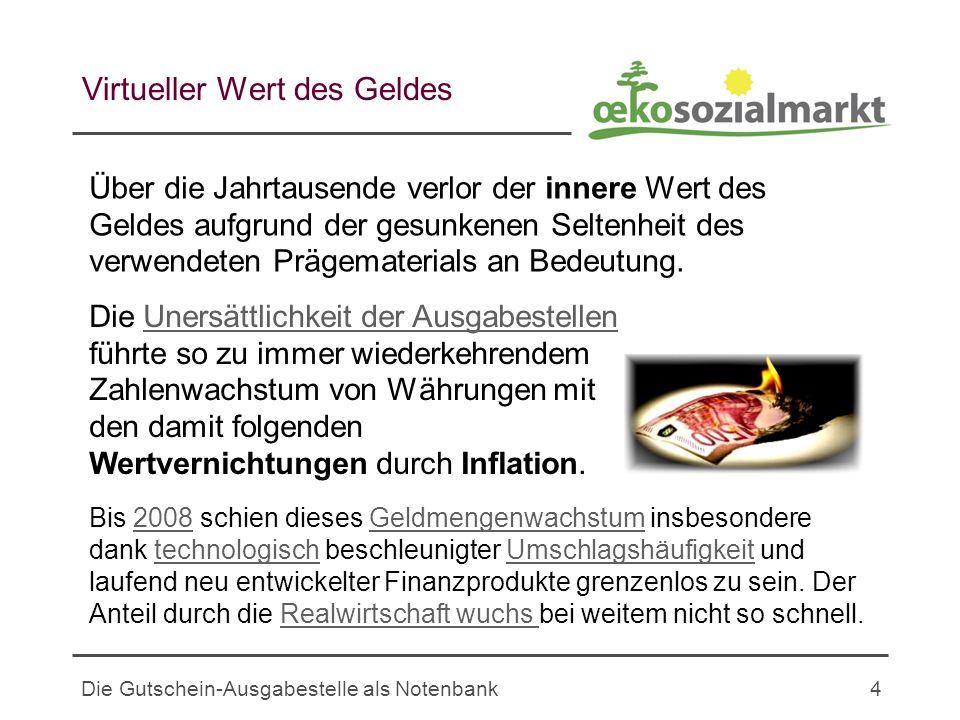 Die Gutschein-Ausgabestelle als Notenbank4 Virtueller Wert des Geldes Über die Jahrtausende verlor der innere Wert des Geldes aufgrund der gesunkenen Seltenheit des verwendeten Prägematerials an Bedeutung.