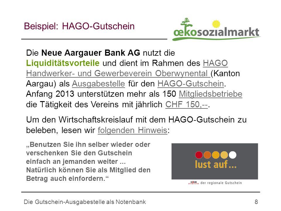 Die Gutschein-Ausgabestelle als Notenbank8 Beispiel: HAGO-Gutschein Die Neue Aargauer Bank AG nutzt die Liquiditätsvorteile und dient im Rahmen des HAGO Handwerker- und Gewerbeverein Oberwynental (Kanton Aargau) als Ausgabestelle für den HAGO-Gutschein.