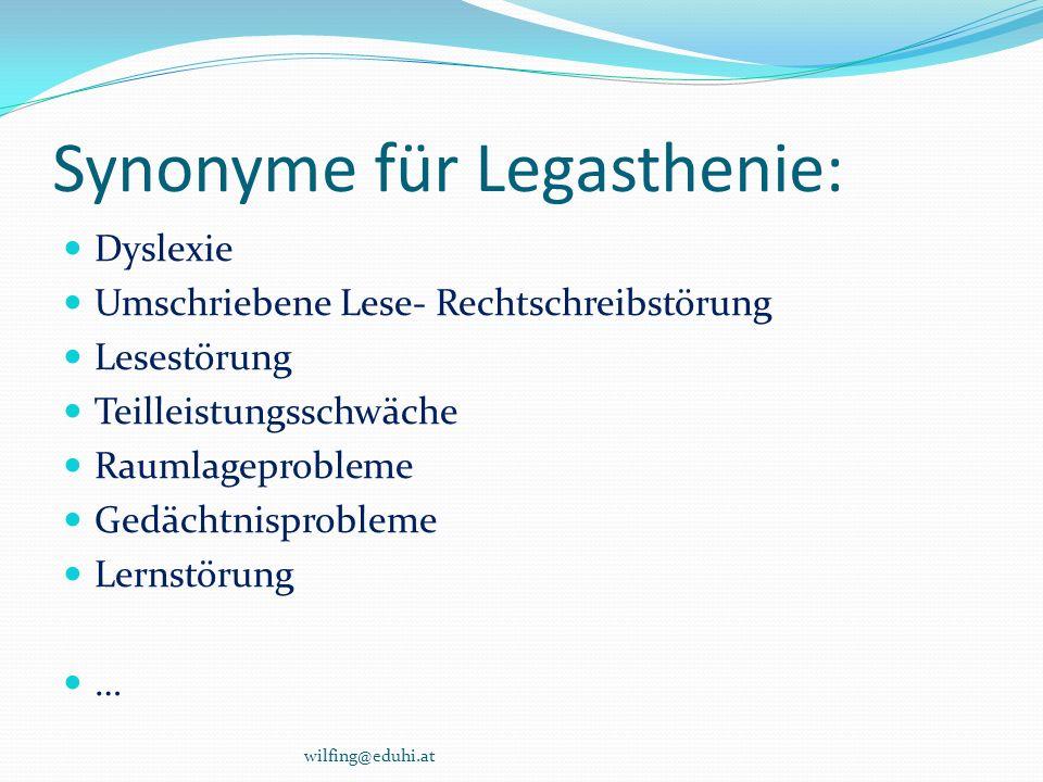 Synonyme für Legasthenie: Dyslexie Umschriebene Lese- Rechtschreibstörung Lesestörung Teilleistungsschwäche Raumlageprobleme Gedächtnisprobleme Lernst