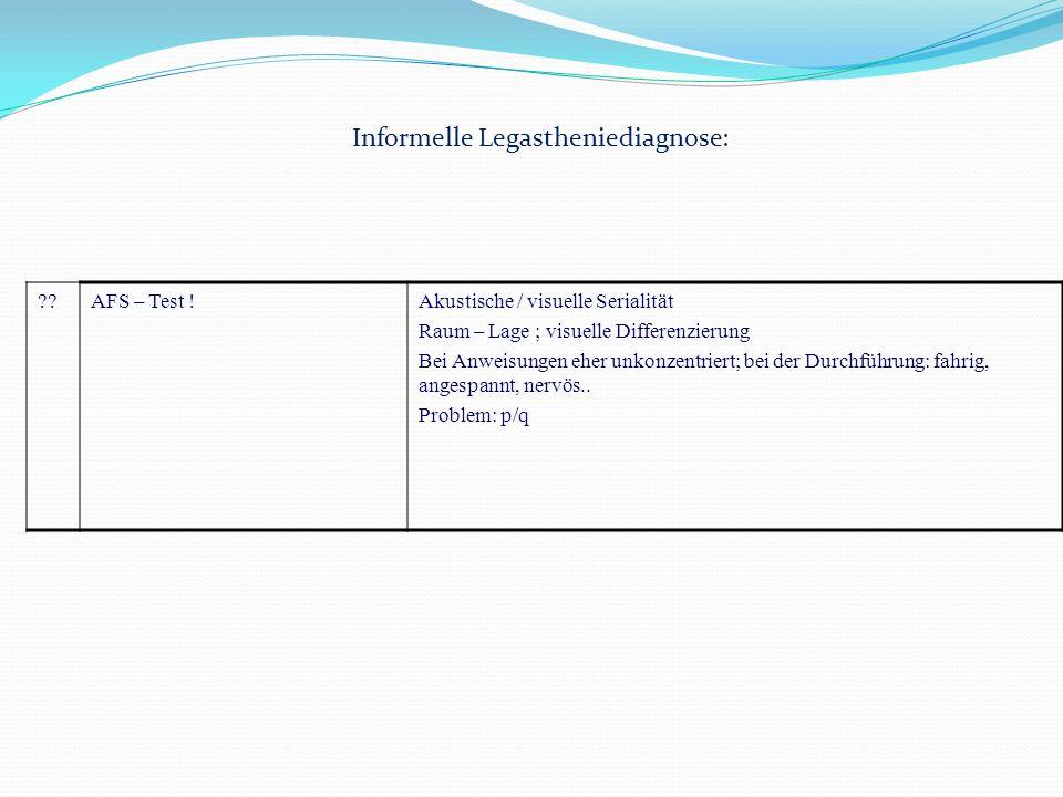 Informelle Legastheniediagnose: ??AFS – Test !Akustische / visuelle Serialität Raum – Lage ; visuelle Differenzierung Bei Anweisungen eher unkonzentri