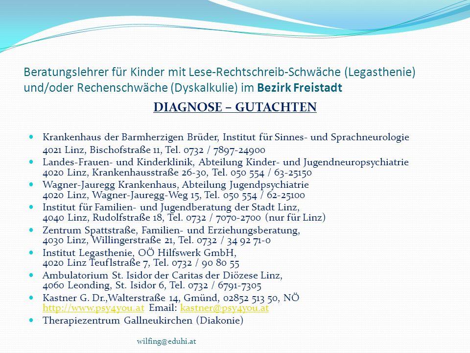 Beratungslehrer für Kinder mit Lese-Rechtschreib-Schwäche (Legasthenie) und/oder Rechenschwäche (Dyskalkulie) im Bezirk Freistadt DIAGNOSE – GUTACHTEN