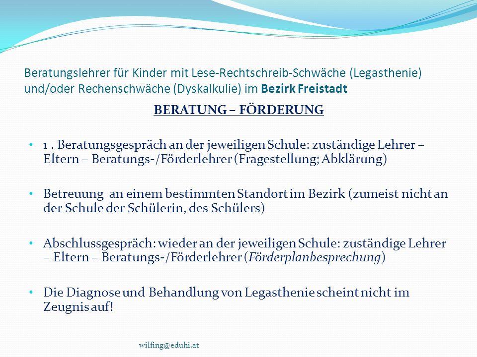 Beratungslehrer für Kinder mit Lese-Rechtschreib-Schwäche (Legasthenie) und/oder Rechenschwäche (Dyskalkulie) im Bezirk Freistadt BERATUNG – FÖRDERUNG