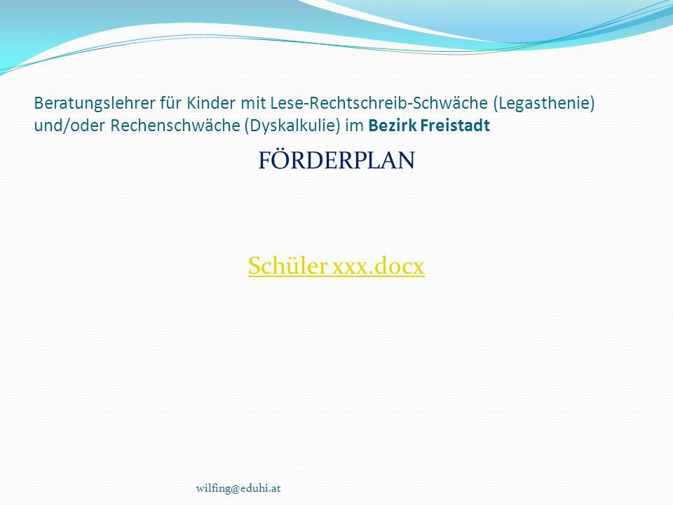 Beratungslehrer für Kinder mit Lese-Rechtschreib-Schwäche (Legasthenie) und/oder Rechenschwäche (Dyskalkulie) im Bezirk Freistadt wilfing@eduhi.at FÖR