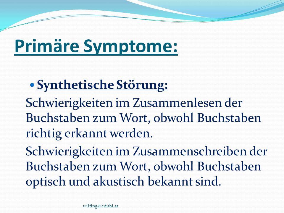 Primäre Symptome: Analytische Störung: Schwierigkeiten in der Zerlegung des ge- hörten Wortklangbildes in die einzelnen Buchstaben und in die richtige Reihen- folge.