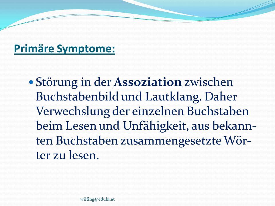 Primäre Symptome: Störung in der Assoziation zwischen Buchstabenbild und Lautklang. Daher Verwechslung der einzelnen Buchstaben beim Lesen und Unfähig