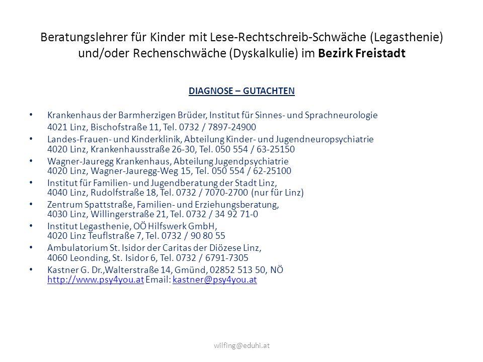 Beratungslehrer für Kinder mit Lese-Rechtschreib-Schwäche (Legasthenie) und/oder Rechenschwäche (Dyskalkulie) im Bezirk Freistadt BERATUNG – FÖRDERUNG 1.
