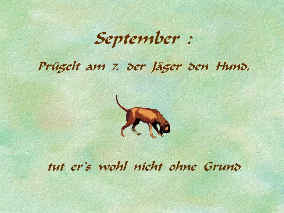 September : Prügelt am 7. der Jäger den Hund, tut er's wohl nicht ohne Grund.